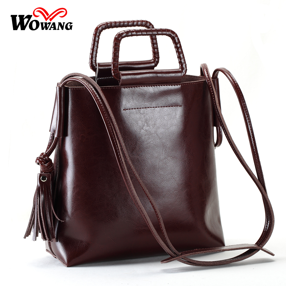 2017 New Genuine Leather Bags For Womens Handbags Cowhide Vintage Shoulder Bags Fashion Tassel Tote Bags Women Messenger Bags<br>