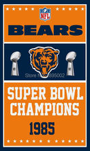 Chicago Bears Super Bowl Champions Man Cave Sports Banner Basketball Flag 3' x 5' Custom Hockey Baseball Football Flag