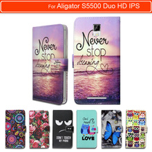 100% Special Luxury PU Leather Flip Cartoon wallet case Book case for Aligator S5500 Duo HD IPS LTE, gift