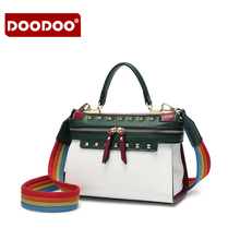 DOODOO Women brand Handbag Lady PU leather Shoulder Bag Girls Fashion Kelly bag Women messenger bag women Panelled zipper bags