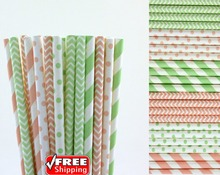 150pcs Mixed 6 Designs Light Pink and Mint Themed Paper Straws-Polka Dot,Striped,Chevron Vintage Birthday Party Baby Shower Bulk