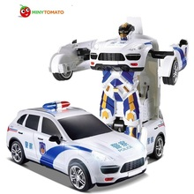 Free Shipping Car Models Deformation Robot Police Transformation Remote Control RC Car Toys for Children Christmas Gift TT664J(China)