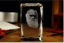 Unique 2017 best Business gift # great Biologist evolutionism Charles Robert Darwin 3D crystal art--BEST business present(China)