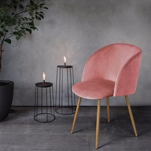 EGGREE Mid-Century Velvet Accent Living Room ArmChair Club Chair with Solid Steel Leg  Dining Room Chair Rose Pink