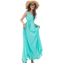 Summer dress 2017 flowing solid color Bohemian long Sanya holiday dresses in stock vestidos women's clothing  LX005