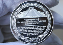 Free shipping 5pcs/lot 1oz TROY OUNCE Silver plated maya bullion coin 2012 Prophecy Mayan Coin