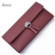 Fashion Women Wallet Carteira New Design Casual Solid Color Fashion Artificial Leather Leisure Clutch Handbag Long Purse(China)