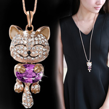 Buy DuoTang Cute Crystal Cat Pendant Necklaces Metal Zinc Alloy Rhinestone Classic Jewelry Animal Long Chain Necklace Women for $4.74 in AliExpress store