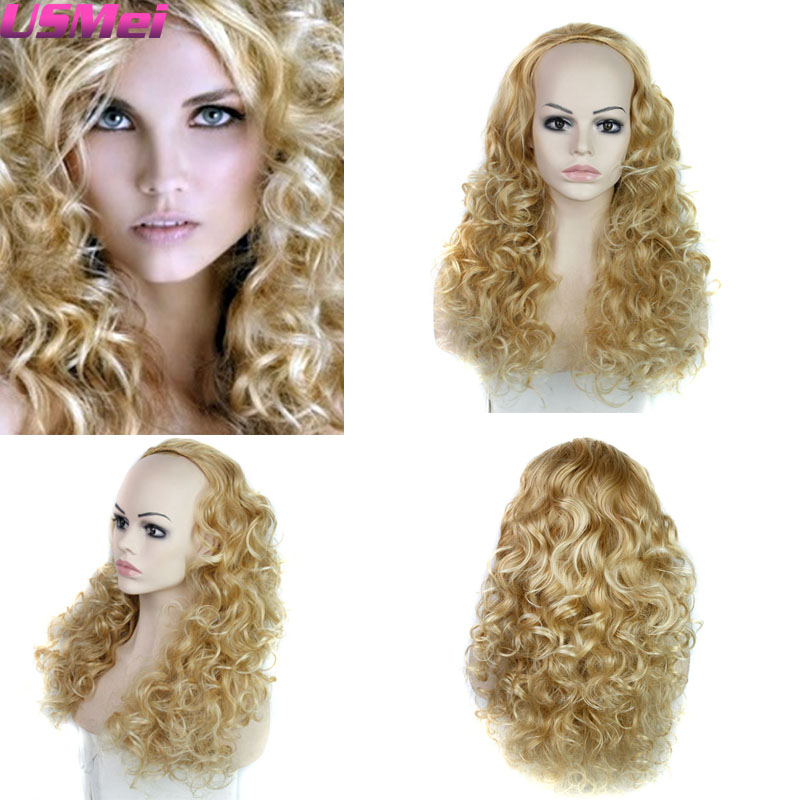 Afro Kinky Curly Wigs Synthetic Long Blonde Half Head Wigs Modern and Fation Womens Synthetic Wigs Glueless High quality<br><br>Aliexpress