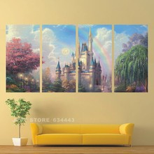 Paint By Number Canvas Painting Kits Wall Pictures For Living Room 4 pcs Magic Castle Decor Art HD Print