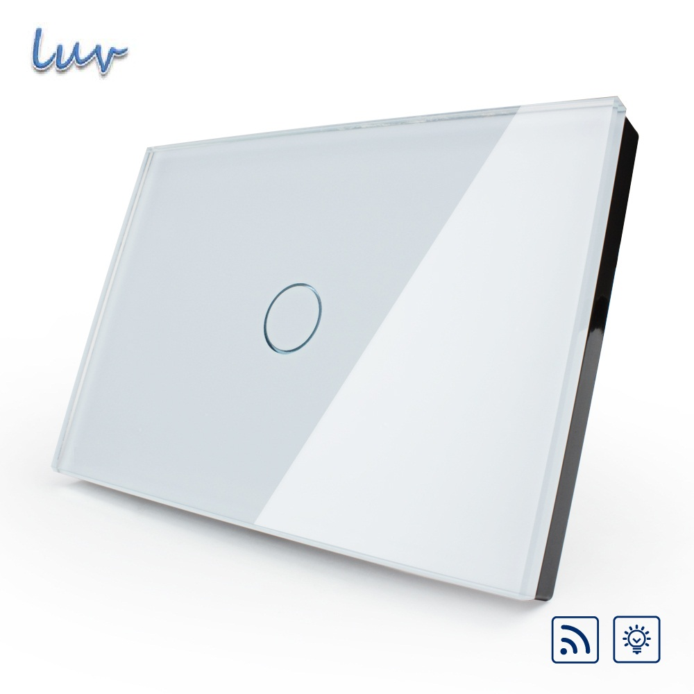 Smart Remote Switch, US&amp;AU Standard, VL-C301DR-81,White Crystal Glass Panel, Wall Light Wireless Remote Dimmer Switch for LED <br>