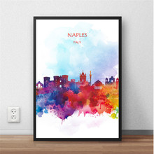 Watercolor City Series NAPLES Italy Abstract Art Print Poster Painting Home Decor Wall Picture Living Room Bar Cafe Pub 42x30cm(China)