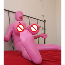 Free shipping !!  Women chest inflatable latex catsuit full cover