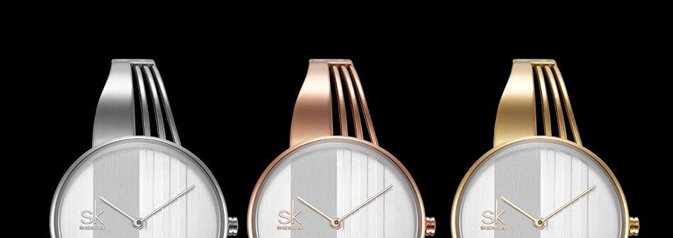ساعة اليد سوار كوارتز  مطلية بالذهب 7