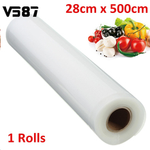 1pcs Kitchen Vacuum Food Sealer Rolls 28cmX500cm PE Food Grade Membranes Meat Vegetable Fruit Keep Fresh Vacuum Bags Wrapper