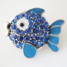 New high quality 20mm snap button sea life blue rhinestone fish snap jewelry Silver Plated snaps for bracelets necklace KB3478