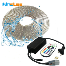 LED Tape AC220V LED strip RGB Rope 110V Ruban Flexible Ribbon LED Waterproof SMD5050 60 leds/M TV Tira Living Room Flex Outdoor(China)