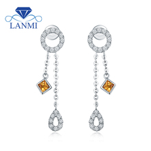 Elegant Design Natural Yellow Sapphire Diamond Drop Earring Real Solid 18K White Gold Good Gem for Wife Christmas Jewelry Gift(China)