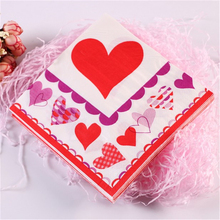 Free Shipping 20Pcs/lot 2-Layer Red Heart Wedding Paper Napkins 100% Virgin Wood Tissue For Birthday Party Decoration