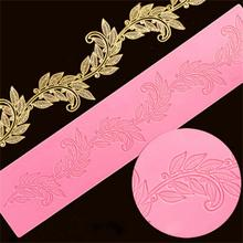 New arrival 100% Sugar lace leaves Silicone mold(380*80mm) fondant cake decoration silicone lace mat/molds FM999(China)
