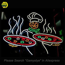 Neon Sign For pizza with man neon lights custom neon signs neon lights for sale Handcrafted real glass tubes make your own Logo(China)