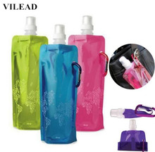 VILEAD 6 Colors Foldable Water Bottle Bag 480ML Environmental Protection Collapsible Portable Water Bag Sports Water Bottle