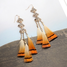 2017 Bohemia Hollow Orange Feather Earrings For Women Gradient Color Sector Alloy Drop Earrings Elegant Brincos HQE455(China)