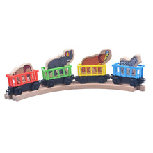 Best baby Christmas gift toys 4pcs/lot wooden Magnetic animal Toams and friends railway Train track toys