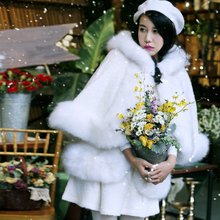 [AIGYPTOS-MX]Original Design Winter Women Elegant Cute White Wool Woolen Fox Fur Cloak Set Medium-Long Outwear Twinset Coat