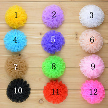 "Bulk 30 pcs Organza Ruffle Flowers - Size 3.5"" - Assorted Color DIY Hair Accessories Supplies"