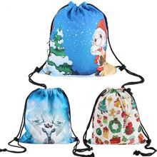 Christmas Festive Pattern Backpack for Women & Men Digital Printing Christmas Tree Storage Bag Xmas Pocket Pouch(China)