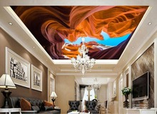 sound absorbing panel ceiling murals wallpaper rock landscape 3d stereoscopic Non-woven kids bedroom wallpaper ceiling