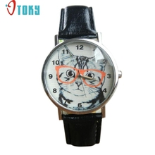 Hot hothot brand Cat Pattern Leather Band Analog Quartz Wrist Watch Womens mr27