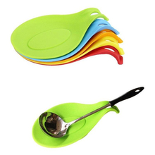 Silicone Spoon Insulation Mat Silicone Heat Resistant Placemat Tray Spoon Pad Drink Glass Coaster hot sale Kitchen Tool(China)