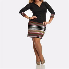 Newly 2016 Fashion Women Sexy Dress Spring Autumn Patchwork Long Sleeve V-neck Striped Vestidos Slim Bodycon Party Dresses