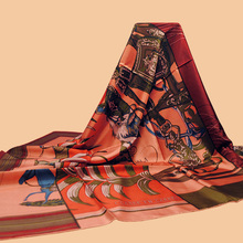 "Huajun || frosted craft brand scarves ""Carre en Carres"" 140 oversized silk scarf 100% silk twill scarves Printed Shawls"