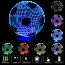 3d Night Lamp Football Optical Illusion Touch Control LED Night Light USB Power Port Table Lamp for Birthday Gift or as Unusual(China)