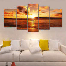 5pcs/set The Yellow Sea And Setting Sun Unframed Modern Home Wall Decor Canvas Picture Art HD Print Painting On Canvas Artworks(China)