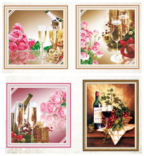 New 5D Wine Glass Fruit Rose Flower Cross stitch kits set DMC Printed Embroidery DIY Handmade Needlework Wall Home Decor Canvas