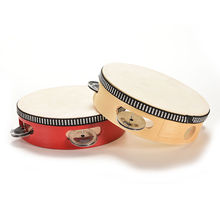 kids Musical Beat Instrument Hand Drum Childrens Kids Musical Wooden Drum Rattles Educational Toy red childrens gifts