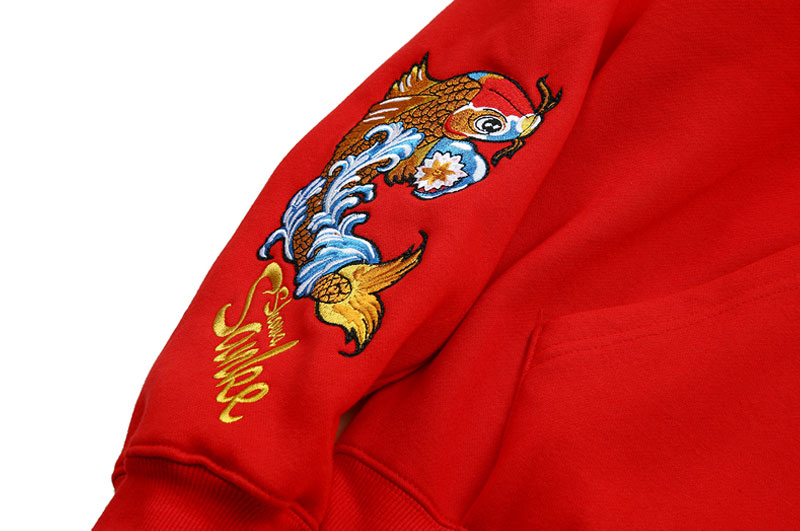 Japanese Embroidery Carp Fish Fleece Hoodies 7