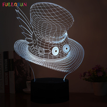 Creative Hat LED 3D Lights Ace Cap Table Lamp 3D LED Multi-colors Sensor Desk Lamp as Friends Gifts(China)