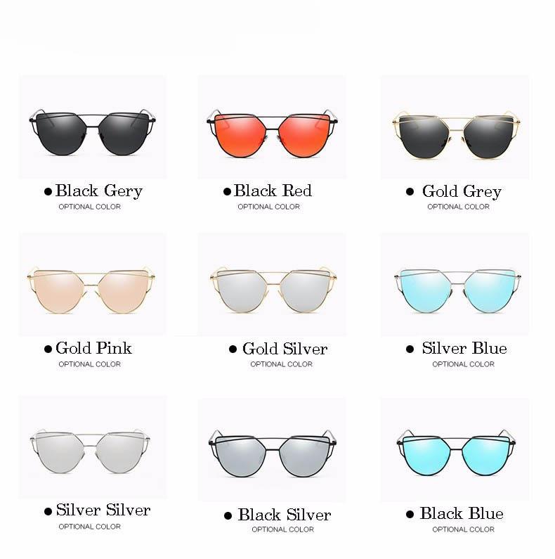 2017 Brand Retro Cat Eye Sunglasses Women Vintage Fashion Rose Gold Mirror Eye Glasses Unique Flat Ladies Eyewear Oculos UV400 19