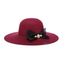 Freeshipping 2017 New Fashion Wine Red / Red / Black / Camel / Royal Blue Wool Floppy Hats With Bow Big Brim For Women / Ladies