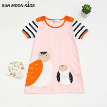 Sun Moon Kids Dresses For Kids Lovely Birds Princess Dress Girls Clothes Girls Sresses Summer 2017 Children Clothes Girl