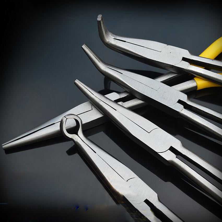 Alicates Curvados de Nariz Largo Alicates de Acero Extra Largos de 270m m Alicates de O-forma 45//90 grado Para Reparaci/ón de Veh/ículo 90/°