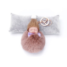 Buy ZOEBER Sleeping Baby Doll Keychain Pompom Rabbit Fur Ball Key Chain Car Keyring Women Key Holder Bag Pendant Charm Accessories for $1.04 in AliExpress store