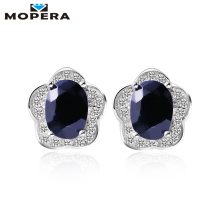 Mopera 1.72ct Natural Sapphire Earrings 925 Sterling Silver Fashion Princess Diana Engagement Wedding Accessories Stud Earrings(China)