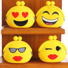 Cartoon Expression Emoji Silicone Wallet Child Girl Women Change Purse Waterproof Headphones Bag Funny Gift W1696