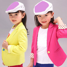Fashion new girl coat candy color girls blazer kids jacket children long sleeve tops outwear kids spring autumn clothes